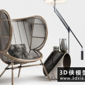 现代藤椅组合国外3D模型【ID:729405807】