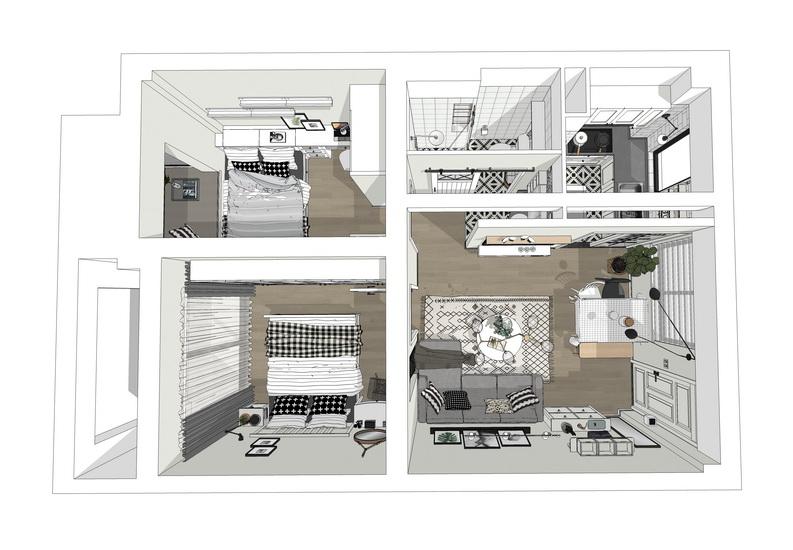 北欧风格两房两厅室内设计SU模型【ID:436862946】