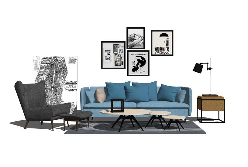 北欧客厅沙发茶几组合SU模型【ID:436862165】