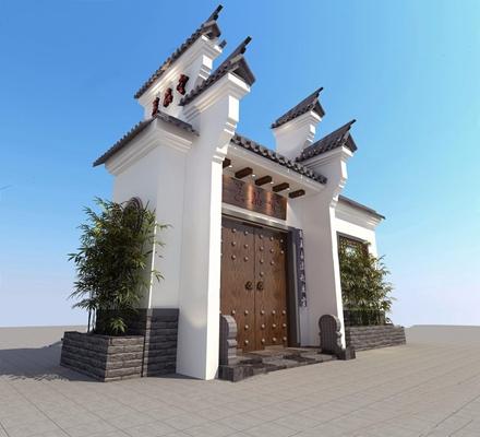 中式古建门头竹子3D模型【ID:528031469】
