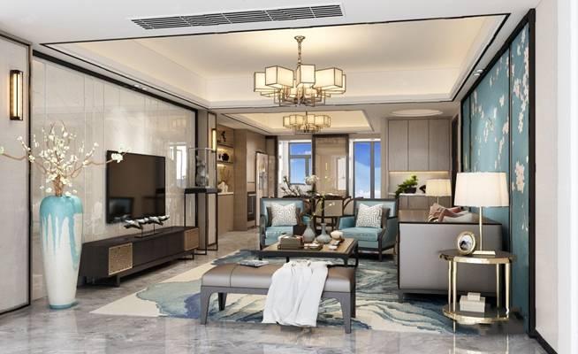 新中式客厅3D模型【ID:124892289】