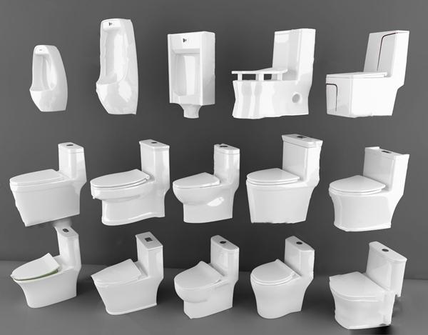 現代馬桶便器組合3D模型【ID:647290424】