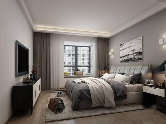 现代卧室3D模型【ID:124891375】