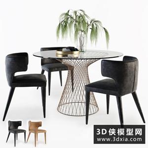 現代餐桌椅组合国外3D模型【ID:729310730】