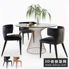 现代餐桌椅组合国外3D模型【ID:729310730】
