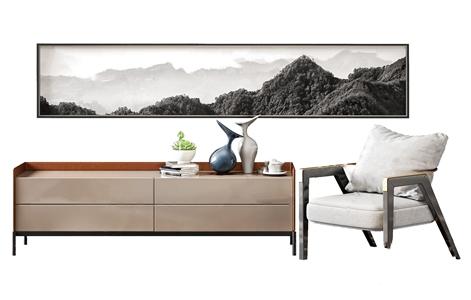 北歐輕奢電視柜單人沙發組合3D模型【ID:941629941】