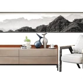 北欧轻奢电视柜单人沙发组合 3D模型【ID:941629941】
