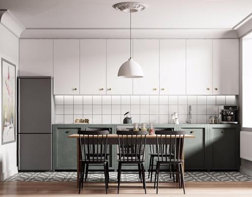 北欧餐厅厨房3D模型【ID:528286037】