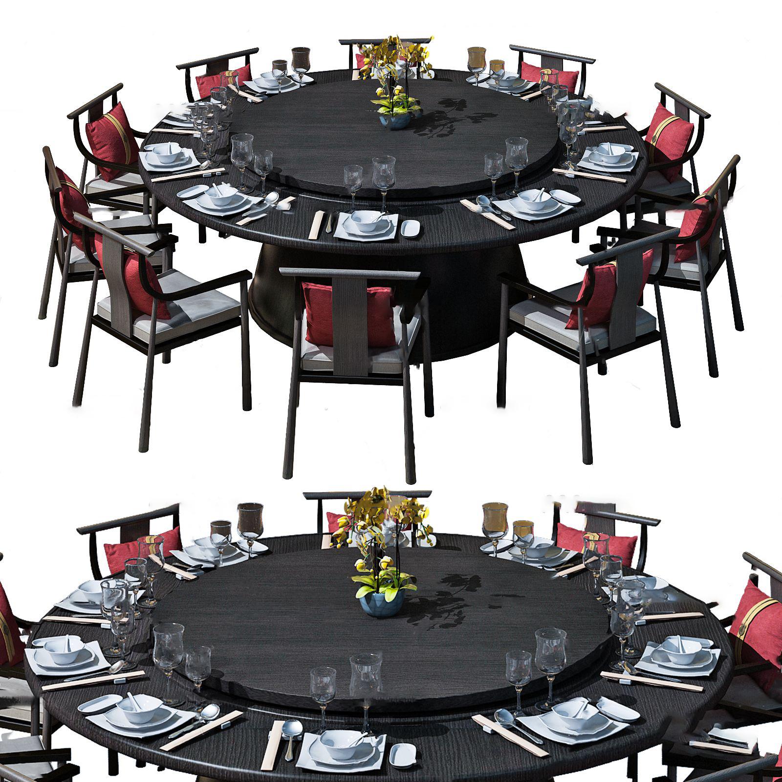 新中式圆形餐桌椅3D模型【ID:842270835】