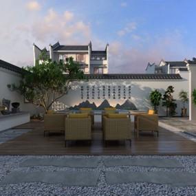 新中式庭院3D模型【ID:828148464】