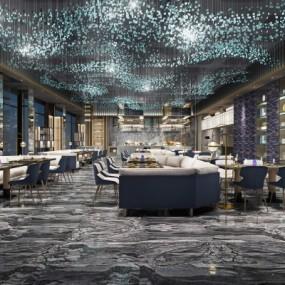 现代酒店休闲餐厅3D模型【ID:227781958】
