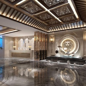 新中式酒店大厅3D模型【ID:428262255】