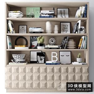 书柜装饰品组合国外3D模型【ID:929315828】