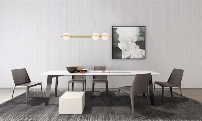 现代餐桌椅组合3D模型【ID:327928529】