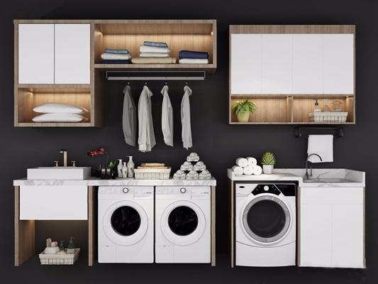 現代洗衣機伴侶盆臺置物柜組合3D模型【ID:128219725】