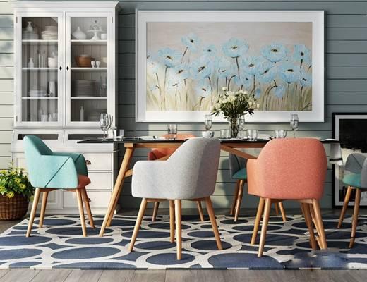 现代餐桌椅组合3D模型【ID:124886832】