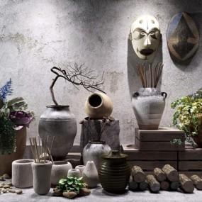 中式陶罐软装素材装饰3D模型【ID:928184145】