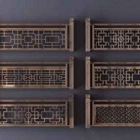 新中式金属雕花栏杆护栏组合3D模型【ID:828473585】