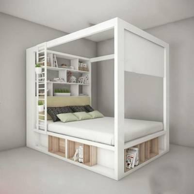 现代双人床3D模型下载【ID:719450040】