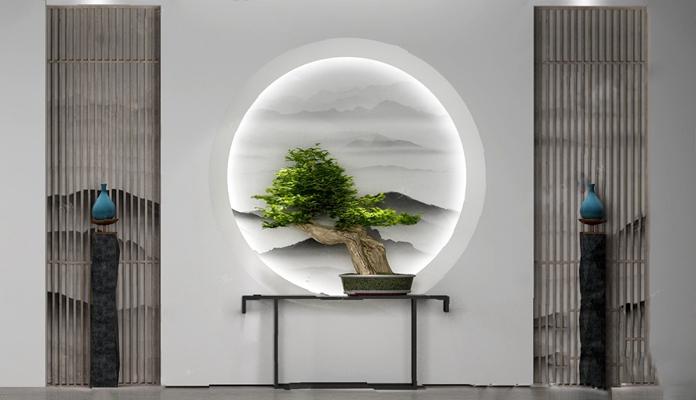 中式背景墙3D模型【ID:326224527】