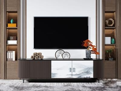 新中式实木电视柜3D模型【ID:950470945】