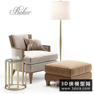 現代單人休閑椅模型組合國外3D模型【ID:729317820】
