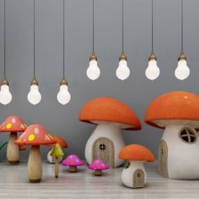 现代儿童玩具卡通蘑菇房组合3D模型【ID:527803744】