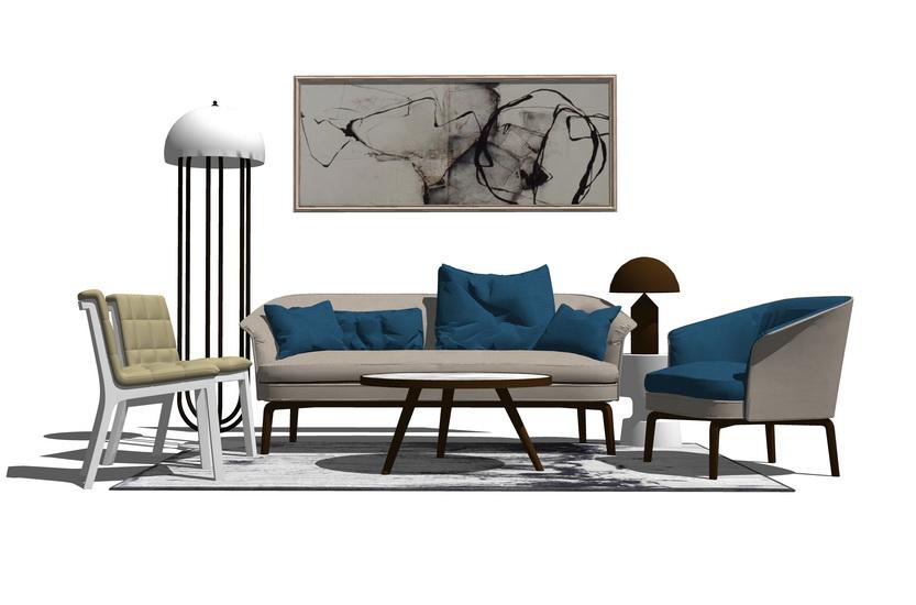 现代客厅沙发茶几组合SU模型【ID:436873113】