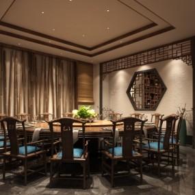 中式徽园会所餐厅包房3D模型【ID:327793424】