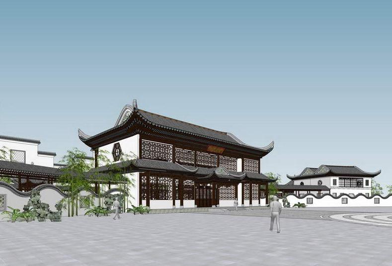 江南中式建筑SU模型【ID:836875620】