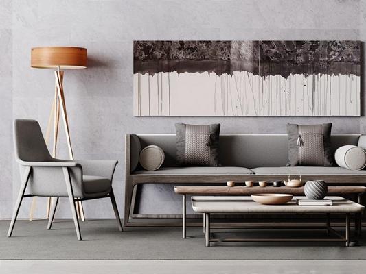 新中式双人沙发3D模型【ID:928177729】