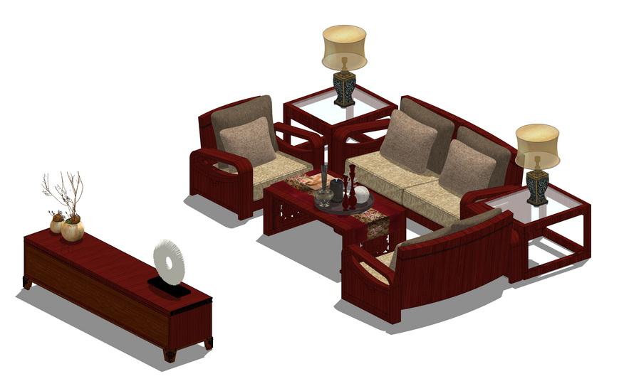 中式客厅沙发茶几组合SU模型【ID:736876625】