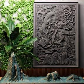 新中式园林小景3D模型【ID:134829479】