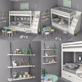 北欧实木儿童高低床3D模型【ID:728470139】