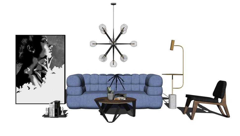 现代风格客厅沙发茶几吊灯组合SU模型【ID:736877666】