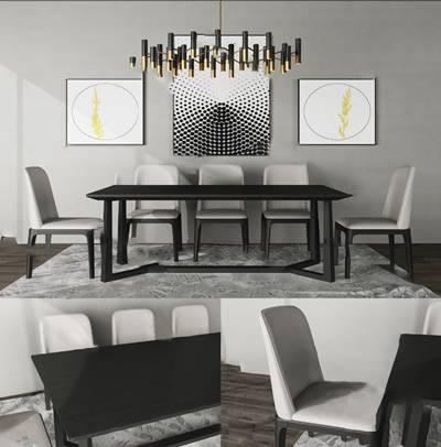 现代餐桌椅组合3D模型【ID:120604846】