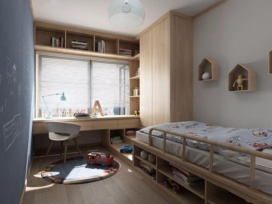 北欧日式儿童房3D模型【ID:127866287】