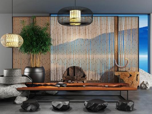 新中式竹-禅意茶室3D模型【ID:628049065】
