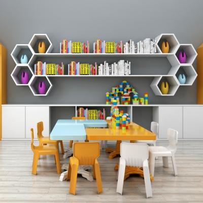 现代儿童桌椅书架组合3D模型【ID:927835207】