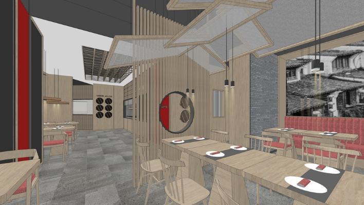 現代餐廳室內設計SU模型【ID:645615063】