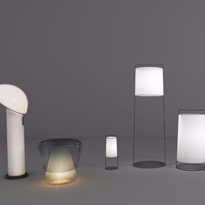 現代鐵藝臺燈落地燈組合3D模型【ID:627805167】