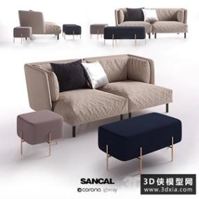 现代沙发组合国外3D模型【ID:729314695】