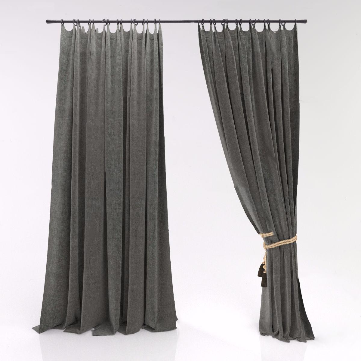 现代绒布窗帘3D模型【ID:243349677】