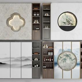 新中式实木酒柜装饰柜3d模型 【ID:642237266】