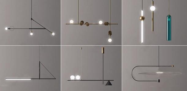 現代吊燈組合3D模型【ID:734271888】