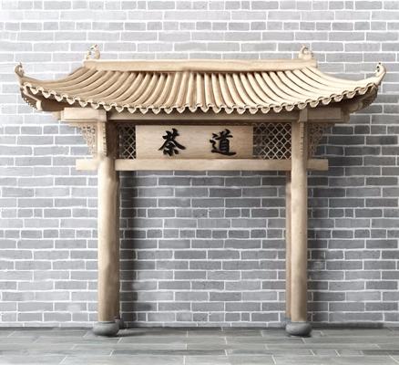 中式古建門樓3D模型【ID:528288461】