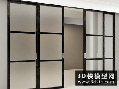现代推拉门国外3D模型【ID:929577412】