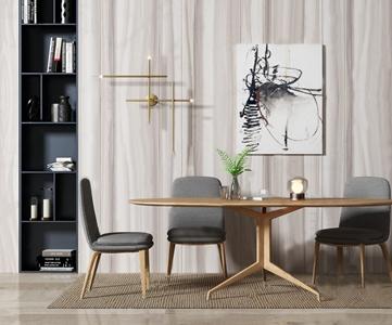 北歐餐桌椅組合3D模型【ID:841356839】