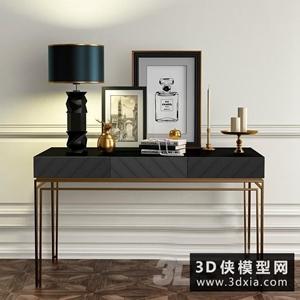 現代案幾裝飾品組合國外3D模型【ID:829306192】