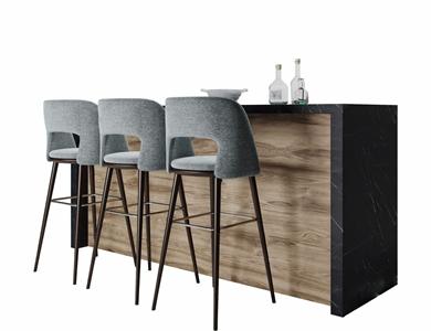 现代吧台吧椅组合3D模型【ID:934272277】